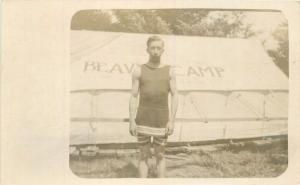 Beaver Camp C-1910 Young Man Swimsuit Tent outdoor Life RPPC real photo 6328