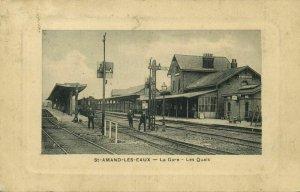 france, SAINT-AMAND-LES-EAUX, La Gare, Station (1905) Postcard