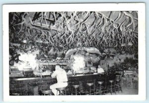 KNIGHTS LANDING, California ~ Interior DUTCH MILLER'S PLACE Bar Antlers Postcard
