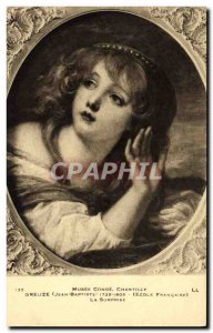 Old Postcard Musee Conde Chantilly Greuze Surprise
