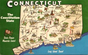 Connecticut Map Of The Constitution Stae With State Flower