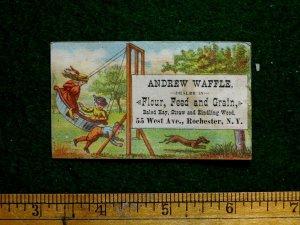 1870s-80s WAndrew Waffle, Kids On Giant Barrel Swing Flour Feed Trade Card F25