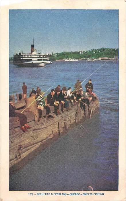 Quebec, Smelt  Fishing off dock