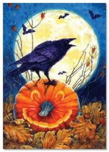 Raven and bats in Halloween Pumpkin Moon Forest fearful New Russian Postcard
