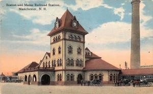 25387 NH, Manchester, Boston and Maine Railroad Station, horse drawn carriges...