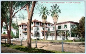 SAN JOSE, California  CA    OLD PALMS and CLUB HOUSE  c1910s    Postcard