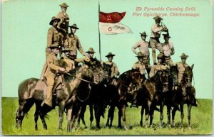 1910s FORT OGLETHORPE, Georgia Postcard Pyramids Calvary Drill Army WWI Unused