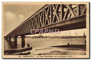 Old Postcard Bordeaux Metallic bridge on the Garonne