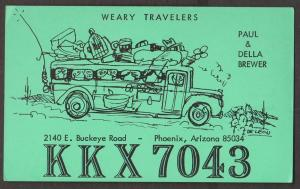 CB QSL Card - Weary Travellers - Paul & Della Brewer Phoenix, Arizona