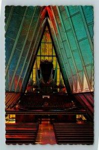 Colorado Springs CO- Colorado, Protestant Cadet Chapel, Organ, Chrome Postcard