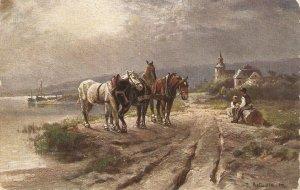 J. ASTUDIN. Heavy Horses.Growing dark Old vintage German postcard
