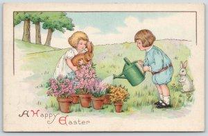 MEP Easter~uns Margaret Evans Price~Boy Waters Flower Pots~Girl & Bunny~750 B