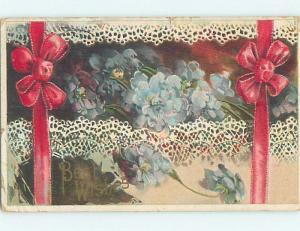 Bent Corner 1910 BEAUTIFUL BLUE FLOWERS & RED RIBBON o8711