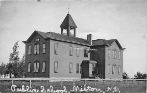 Milton ND Public School in 1909 RPPC Real Photo Postcard
