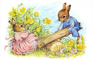 Bunnies See-Saw by Audrey Tarrant     Medici Society
