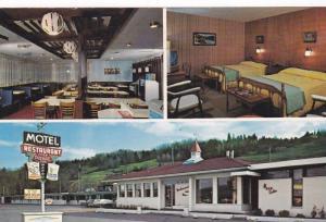 3-View Postcard, Dining Room, Motel Restaurant Chez Pierre Enr., Riviere Malb...