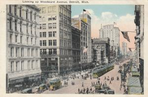 DETROIT , Michigan , 1900-10s; Looking Up Woodward Avenue, Trolley