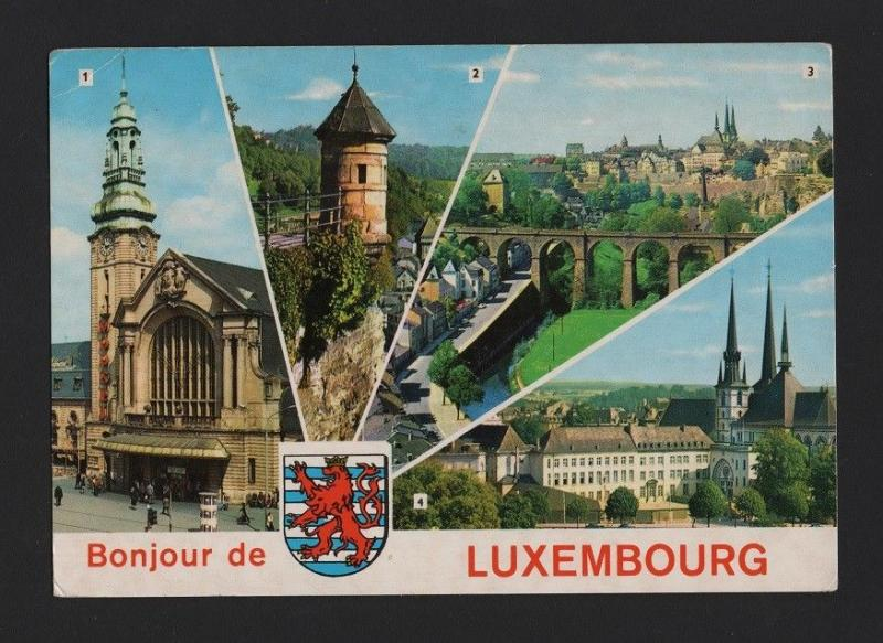 POSTCARD  STAMP LUXEMBOURG multi views