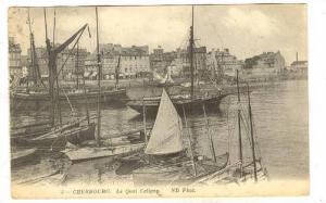 Le Quai Caligny, Sailboats, Cherbourg (Manche), France, PU-1913