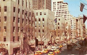 New York City, The Famous Fifth Avenue, Rockefeller Center District cars 1953