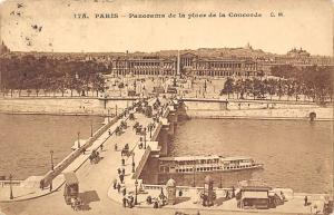France Paris Panorama Place Concorde, animee, ship bateau carriage CPA 1909