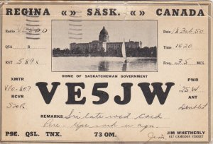 QSL Radio Postcard , REGINA , Saskatchewan , Canada , PU-1950