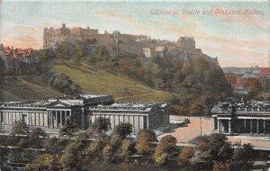Edinburgh Castle & National Gallery, Edinburgh,Scotland, early postcard, unused
