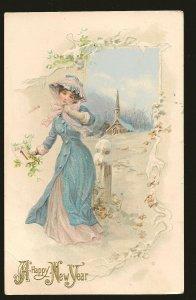 Postmarked 1910 Port Colborne Ont AS Meeker 1910 Embossed New Year Postcard