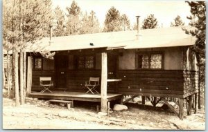 1940s Colorado RPPC Postcard GRAND LAKE LODGE Cabin View SANBORN Photo Unused