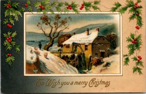 Antique To Wish You A Merry Chirstmas  Postcard Posted