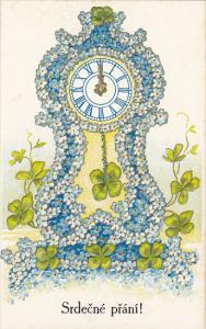 Srdecne Prani Name Day With Clock and Blue Flowers