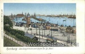 Hamburg Germany, Deutschland Postcard Landungsbrucke und hafen bei St Pauli  ...