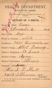 St Louis Missouri~Birth Record of Oscar Bossung~Son of Albert & Agnes 11/2/1906