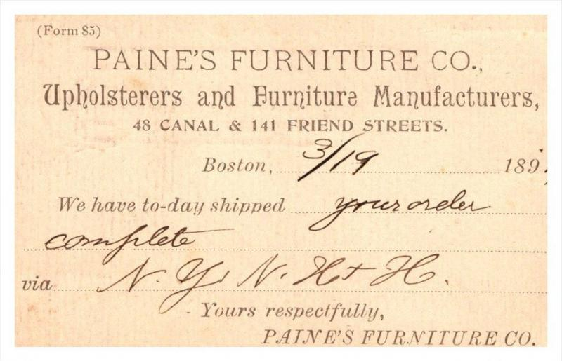 20486   RI Providence  Paines Furniture  March 19, 1894  order shipped