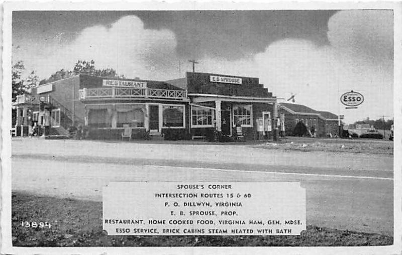 Dillwyn Va Spouse S Corner Esso Gas Station Restaurant Postcard
