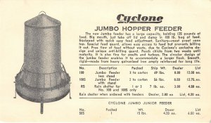 Urbana Indiana~Cyclone Mfg Jumbo Hopper Chicken Feeder~Umbrella Protection~c1922
