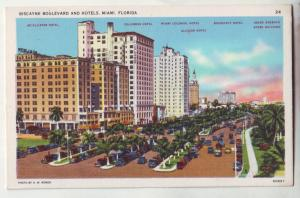 P747 birdseye view old cars etc biscayne blvd hotels miami florida