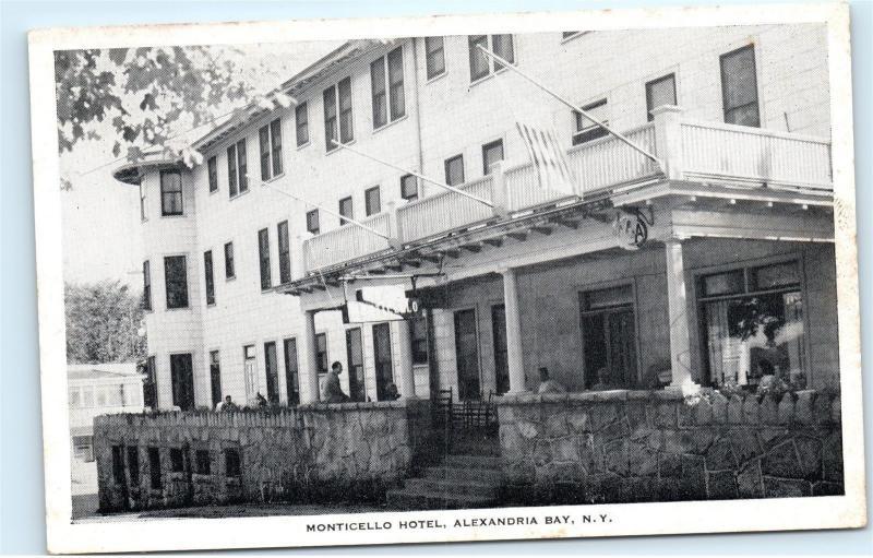 New Monticello Hotel Alexandria Bay Ny York Vintage Postcard B18