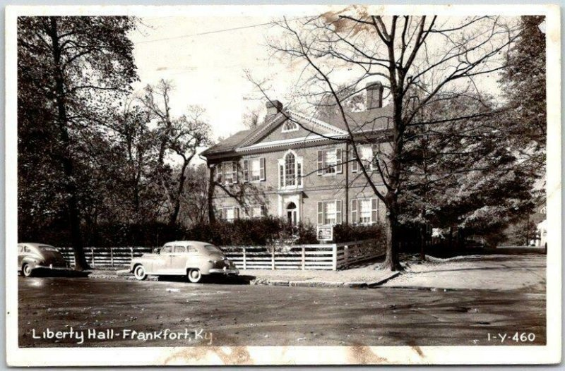 FRANKFORT Kentucky RPPC Postcard Liberty Hall Street View CLINE Photo  1-Y-460