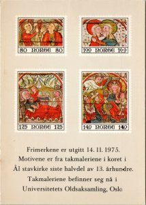 Norwegian stamp postcard -  motifs from ceiling painting in Ål Stave Church