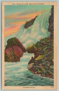 New York City~Niagara Falls Rock Of Ages~1940s Linen Postcard