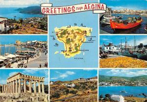 Greece Greetings from Aegina, map, multiviews, Souvenir, Gruesse, Saluti