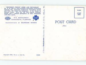 1950's BICKFORD TOURIST LODGE MOTEL & RESTAURANT Sarasota FL ho4411