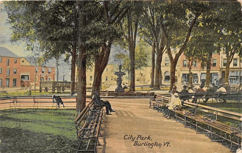 Burlington Vermont~City Park~Fountain~People in Shade on Benches~1912 Postcard