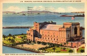 California Long Beach Municipal Auditorium With Battle Fleet At Anchor 1939
