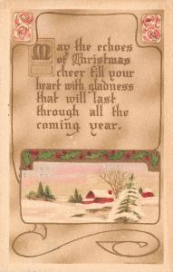 Christmas~Country Farm~Gold Leaf & Holly Berry Art Nouveau~Gibson Art Co~1911