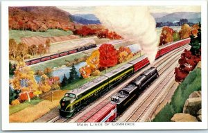 1950s PENNSYLVANIA RAILROAD Postcard Main Lines of Commerce Artist's View