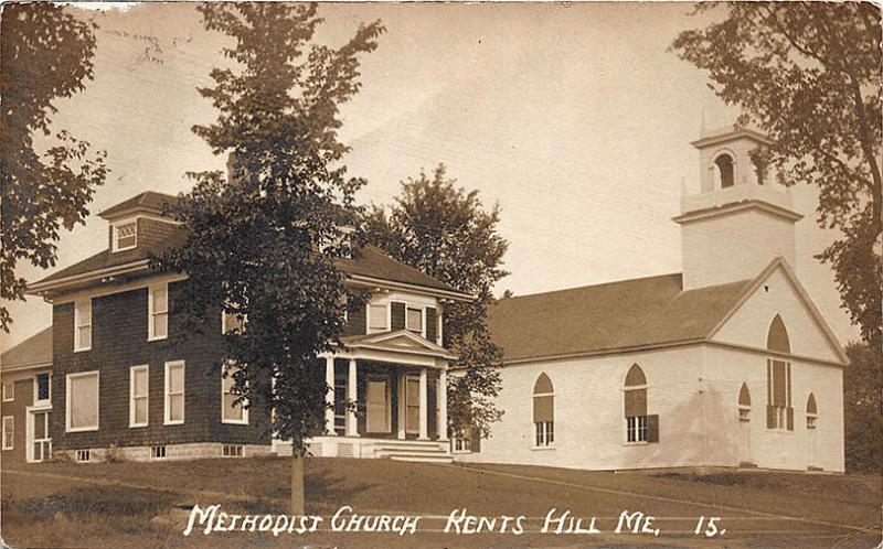 Kents Hill ME Methodist Church Eastern Illustrating RPPC Postcard