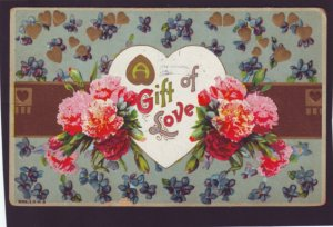 P1369 1905 postcard used flowers heart a gift of love mailed from toledo ohio