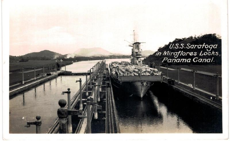 Panama Republic RPPC USS Saratoga Miraflores Locks Unused
